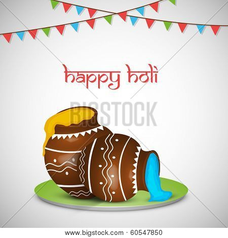 Indian festival Happy Holi celebrations concept with beautiful traditional mud post with full of liquid colours on grey background.