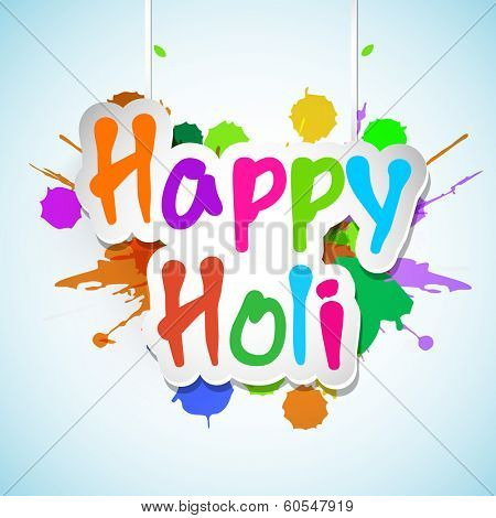 Indian festival Happy Holi celebrations concept with stylish hanging text on splash background.