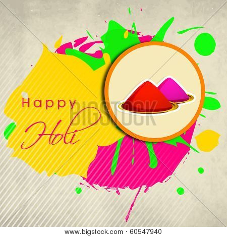Indian festival Happy Holi celebrations concept with colours powder on splash background.