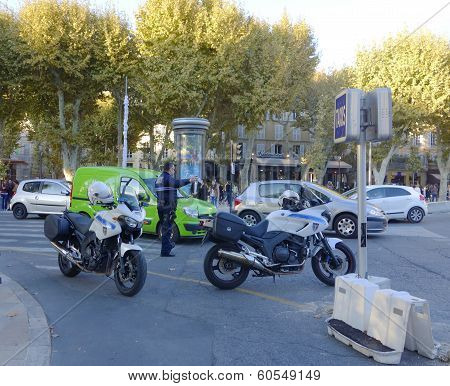 Municipal policemen in Aix-en-Provence, France