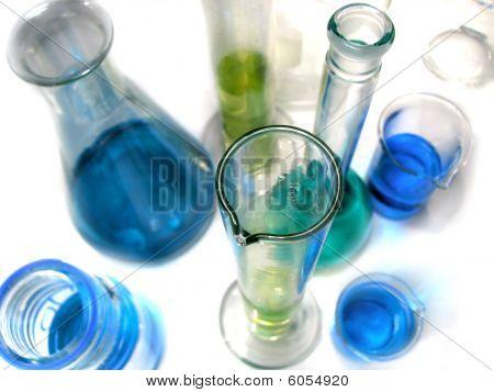 Laboratory Glassware On White