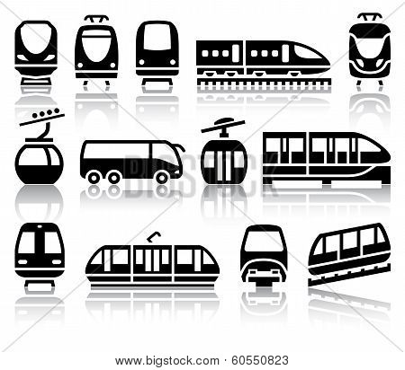 Passenger and public transport black icons