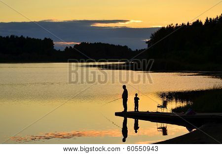 Fishing in sunset
