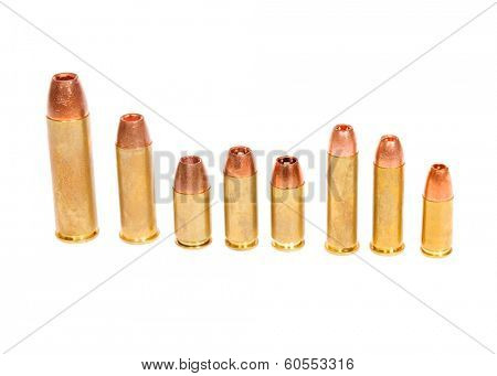 Different types of pistol cartridges from .50 down to 9mm for both semi-auto and revolver
