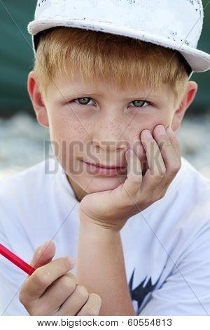 Closeup Portrait Of Little Artist