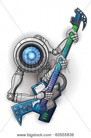 White robot with guitar isolated on white. Vector illustration