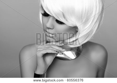 Fashion Blond Girl. Beauty Portrait Woman. Makeup. White Short Hair. Isolated On Grey Background. Fa