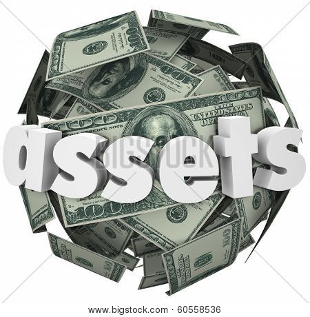 Assets Word Money Ball Financial Value Savings Investments