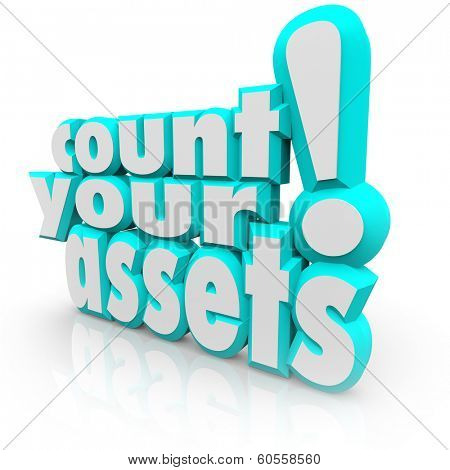 Count Your Assets 3d Words Tracking Wealth Financial Value