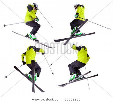 Collection of skier jumping freeride tricks, isolated on white background