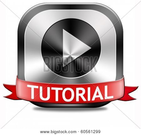 tutorial button learn online video lesson or class, website education
