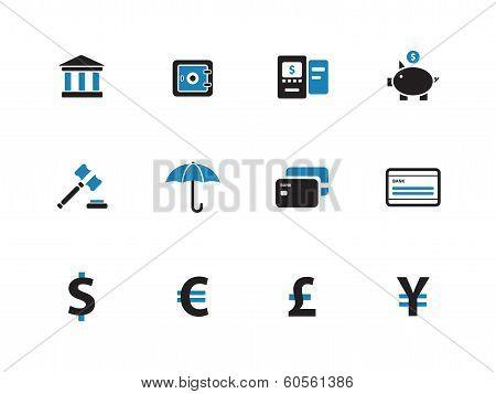Banking duotone icons on white background.