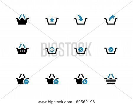 Shopping Basket duotone icons on white background.