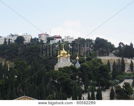 Golden Domes Of The Church Of Mary Magdalene. Jerusalem