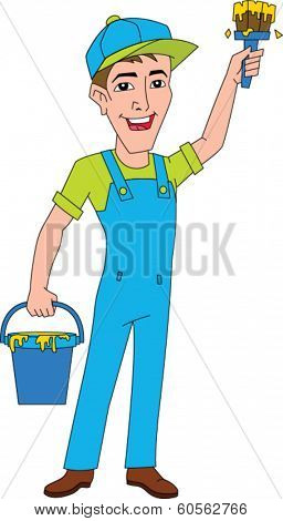 Smiling house painter dressed in overalls holding paint bucket and paint brush