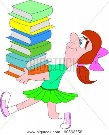 School girl walking briskly with tall stack of books