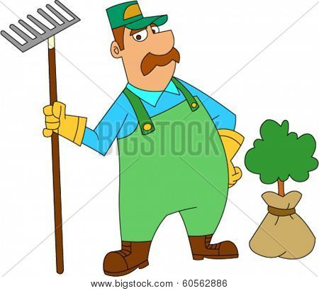 Landscaper holding rake next to shrub he is about to plant