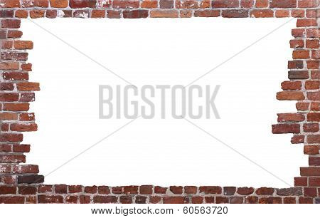 Old brick wall as a grungy frame, isolated