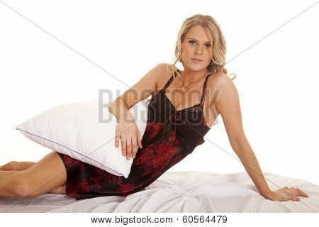 Woman Black And Red Nightgown Lay Hold Pillow