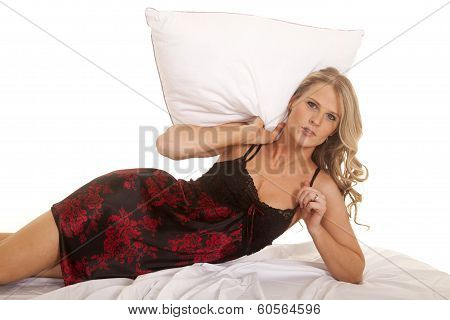 Woman Black And Red Nightgown Lay On Side Pillow Over Head
