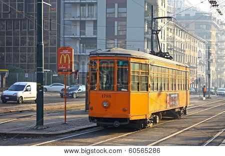 Old Traditional Peter Witt Tram On The Street Of Milan