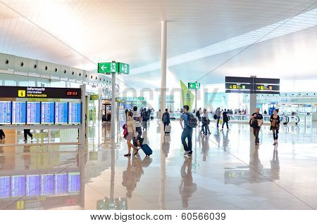 BARCELONA, SPAIN - JUNE 12, 2011: Barcelona International Airport interior. Airport if one of the biggest in Europe