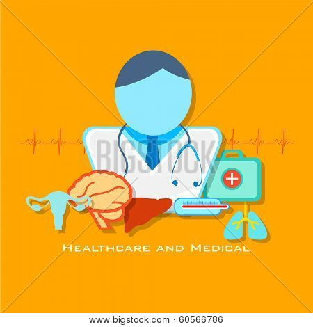 illustration of healthcare and medical concept with doctor in flat style