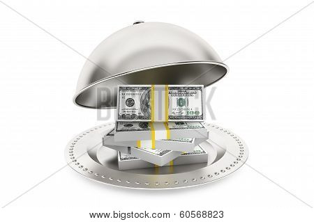 Silver Restaurant Cloche With Dollars Banknotes
