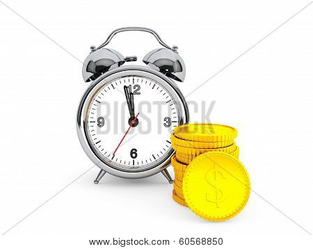 Time Is Money Concept. Alarm Clock With Golden Coin