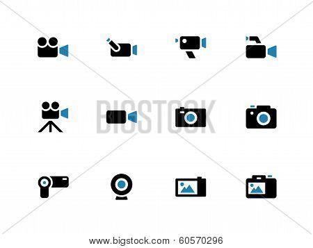 Camera duotone icons on white background.