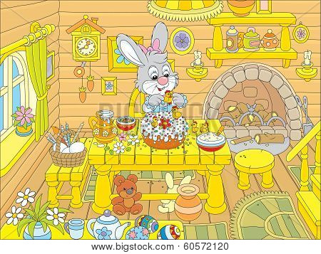 Easter bunny cooks a holiday cake