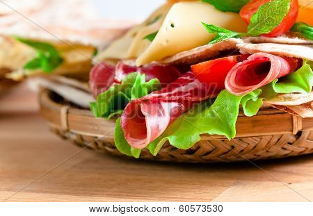 Unleavened Wheat Cake  With Smoked Meat