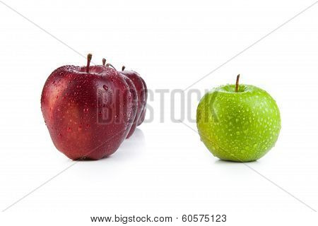 Maroon Apples Lined Up In A Row And Green Apple Closeup