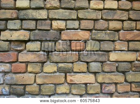 Old Green And Red Yellow  Brick Cement Wall Background