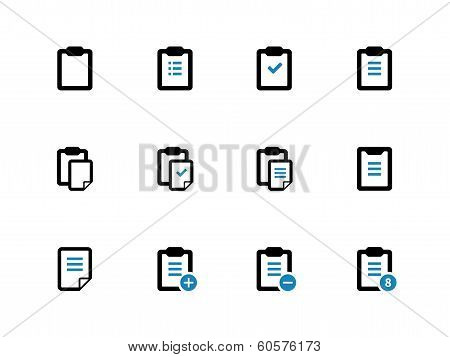 Clipboard duotone icons on white background.