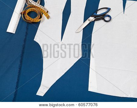 Tailor Tools And Paper Model Of Clothes