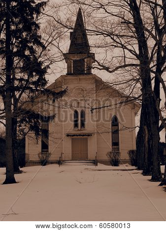 Old Church and Steeple in Winter