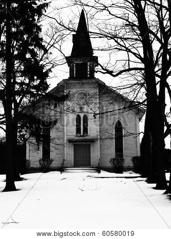Old Church and Steeple (Black & White)