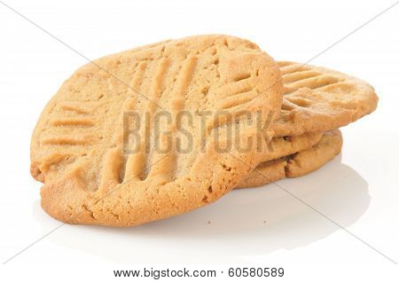 Peanut Butter Cookies On A White Background