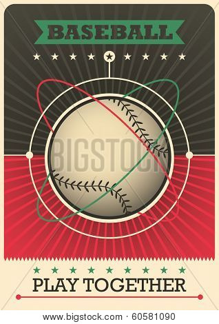 Retro baseball poster design. Vector illustration.