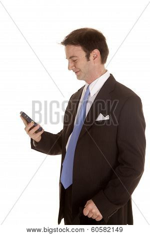 Man In Suit Side Look At Phone