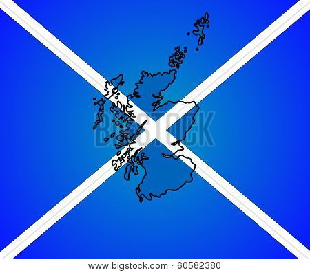 Outline of Scotland placed over Scottish flag