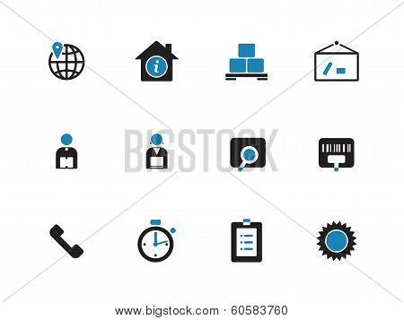 Logistics duotone icons on white background.