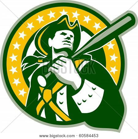 American Patriot Baseball Player Green Gold Retro