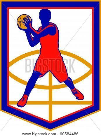 Basketball Player Passing Ball Shield Retro