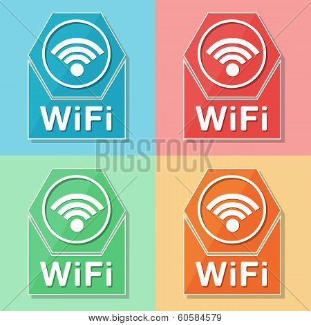 Wifi Symbol, Four Colors Web Icons