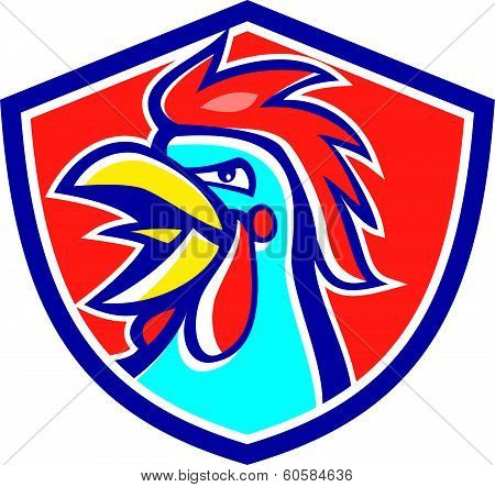 Cockerel Rooster Crowing Head Shield