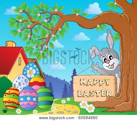 Image with Easter bunny and sign 9 - eps10 vector illustration.