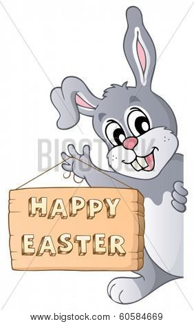 Happy Easter sign and lurking bunny - eps10 vector illustration.