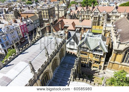 Aerial View Of Roofs Of Oxford